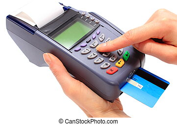 Using payment terminal, enter personal identification number...
