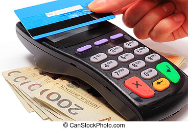 Hand of woman paying with contactless credit card, NFC...