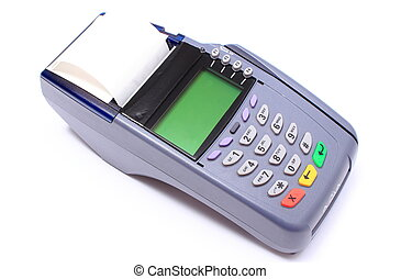 Credit card reader on white background, payment terminal,...