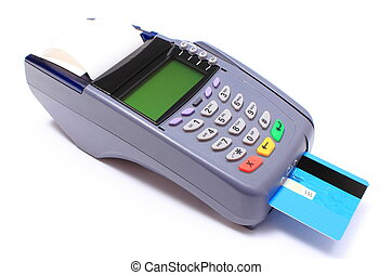 Payment terminal with credit card on white background,...