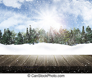 Wooden table looking out to a snowy tree landscape - 3D...