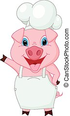 Pig chef cartoon waving hand - Vector Illustration of Pig...