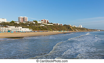 Bournemouth beach Dorset England UK near to Poole known for...
