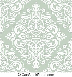 Damask Seamless Vector Pattern Orient Background - Damask...