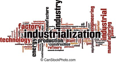 Industrialization word cloud concept Vector illustration
