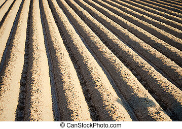 Furrows - Full frame take of deep freshly ploughed furrows