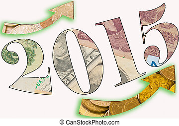 Economic Growth 2015 illustration with bill and coin that...