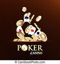 Pocker casino gambling set with cards and chips vector...