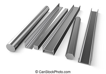 rolled metal stock 5 - rolled metal stock isolated on white...