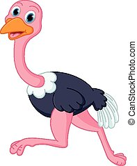 Cute ostrich cartoon running - Vector Illustration of Cute...