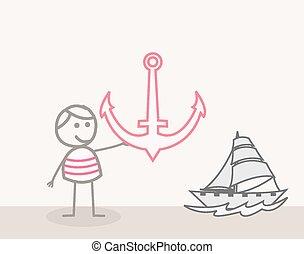 The Sailor Holding an Anchor