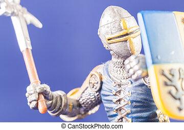 pequeno, guerreira,  medieval