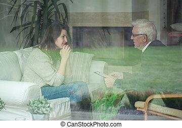 anciano, terapeuta, el consultar, paciente,