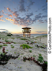 Wanda Beach Surf Life Guard Lookout Tower at sunrise - View...