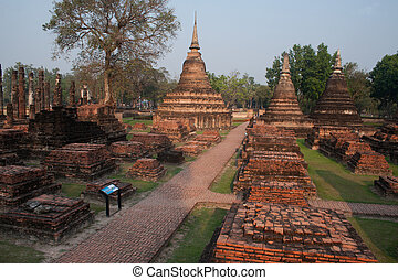 Temple at Sukhothai historical park - Top view of Wat...