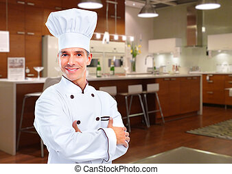 Chef - Mature professional chef man in modern restaurant