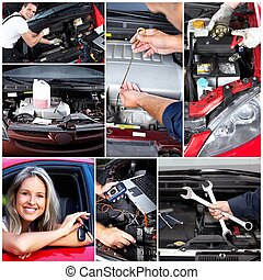 Car repair collage. Mechanic with wrench in garage