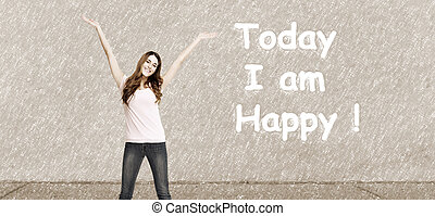 Positive happy woman on abstract background - Positive happy...