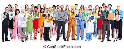 Grupo, de, Trabalhadores, pessoas.,