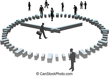 Business People Sihouettes Work a Day in 3D Clock - A group...