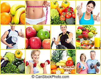 Weight loss and diet collage. - Fitness people. Weight loss...