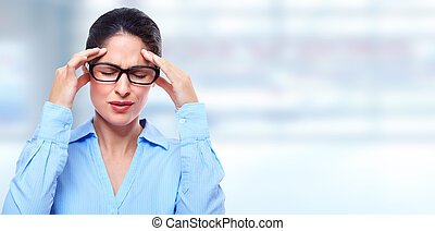 Woman having migraine headache Stress and depression