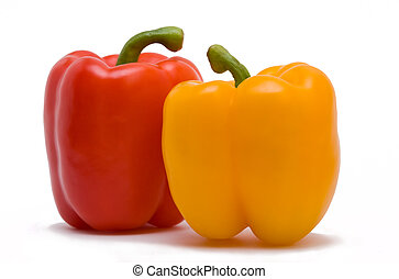 Two sweet peppers - Two sweet isolated peppers