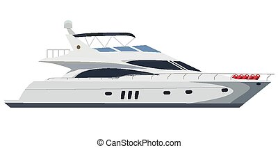 Motorboat - Cruising motor yacht on white background