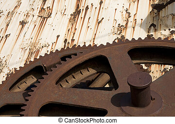 Rusty Gears - Sugarcane grinding gears removed from the old...