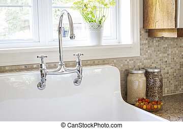 Kitchen sink and faucet - Rustic white porcelain kitchen...