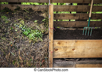 Backyard compost bins - Large cedar wood compost boxes with...