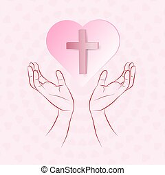 True cross in pink heart floating over human hand on pink...