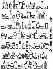 different cosmetic products
