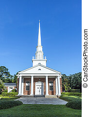 Fairhope  church from outside with white wooden clock tower