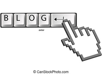 Hand pixel cursor clicks BLOG on computer keys - A hand...