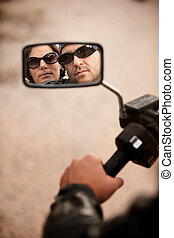 Motorcyclist and Woman Reflection - Reflection of Motorcycle...
