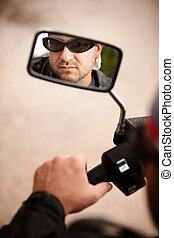 Motorcyclist Reflection - Reflection of Motorcycle Driver in...