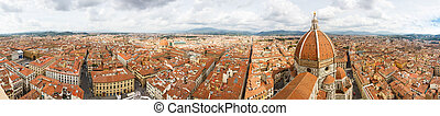 panoramic view of Florence, roofs of red tiles - Cityscape...