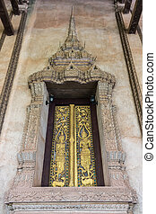 Ancient Gold carving wooden window.