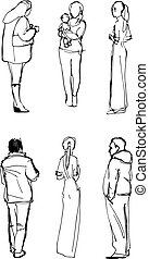 hand drawn figures of men and women - set of hand drawn...