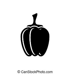 Sweet pepper icon - Black vector sweet pepper icon on white...