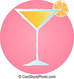 grunge hand drawn cocktail with orange and bubbles - Pink...