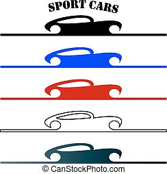 Stylish sport car abstract sign or symbol carting logo -...