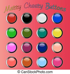 colorful merry cheery shiny buttons - diferent color merry...