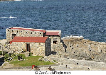 Building in the historical old harbour in Hermanus, Western...