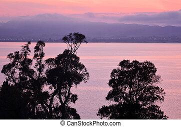 Sunrise over lake Rotorua, Bay of plenty, New Zealand