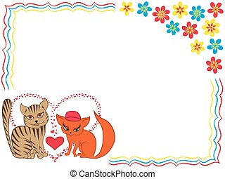 Enamoured cat and kitty on Valentine greeting card with...
