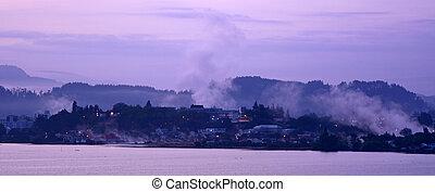 Sunrise over Rotorua - New Zealand - Panoramic view of...