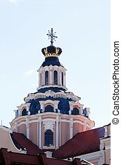 Tower of church of St. Casimir in Vilnius. Lithuania.