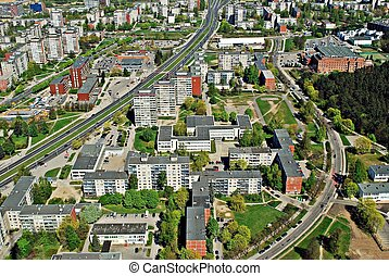 Vilnius city capital of Lithuania aerial view from...
